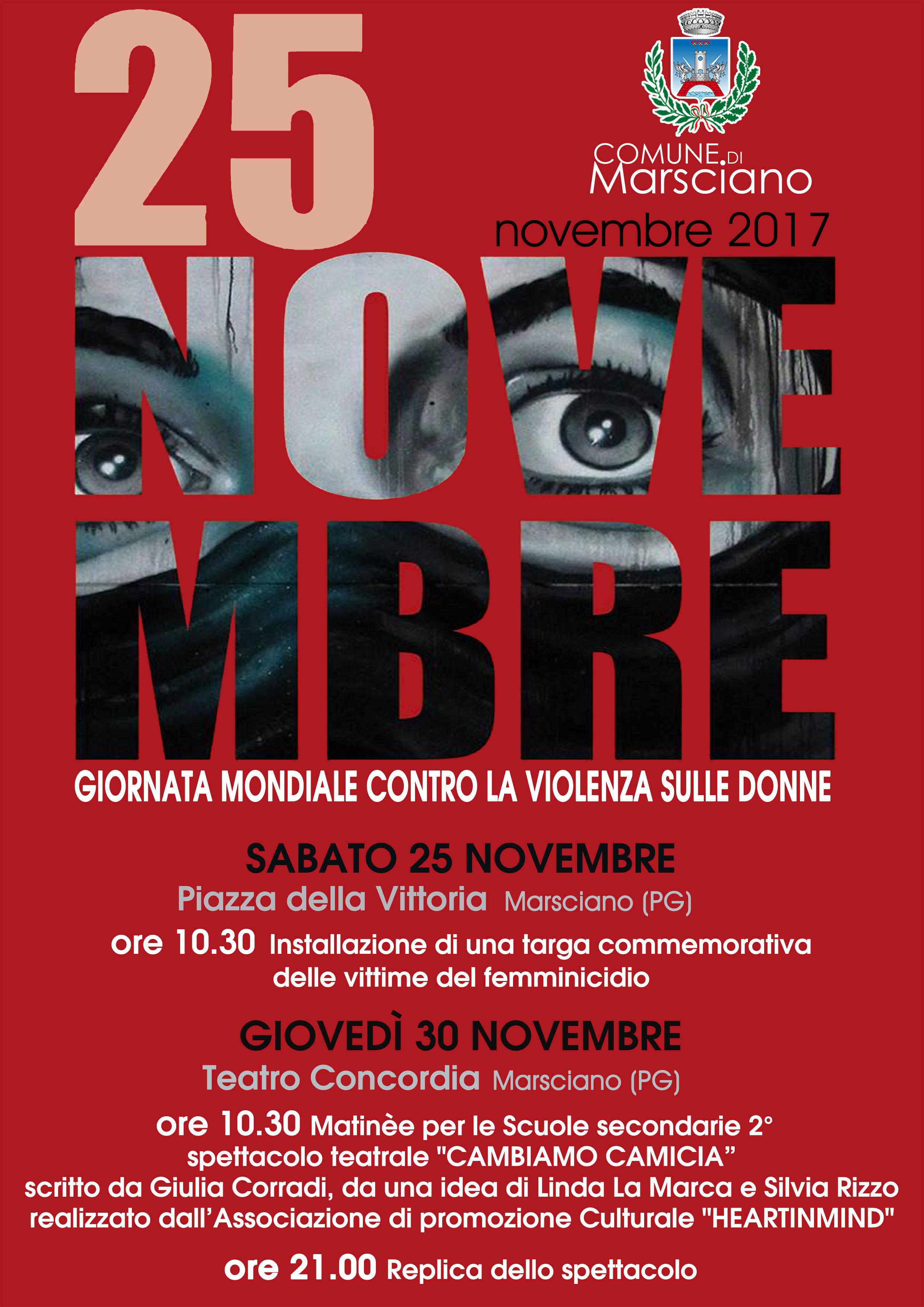 locandina 25 novembre stop violenza sulle donne